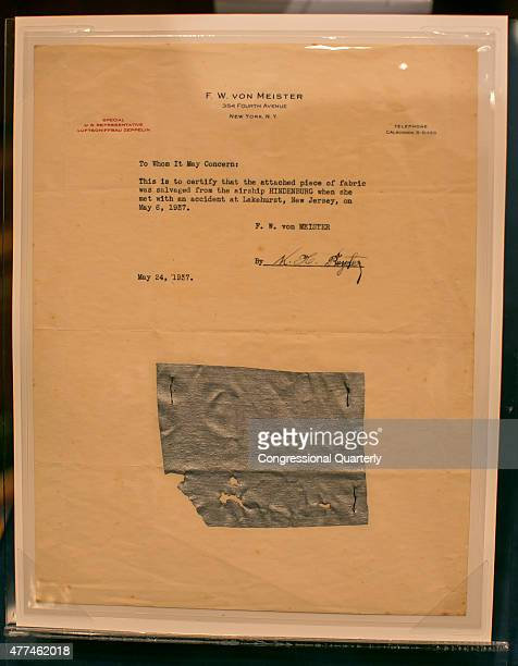 STATES JUNE 17 A piece of fabric that is believed to be salvaged from the Hidenburg airship on a sheet of stationery with the letterhead of FW von...