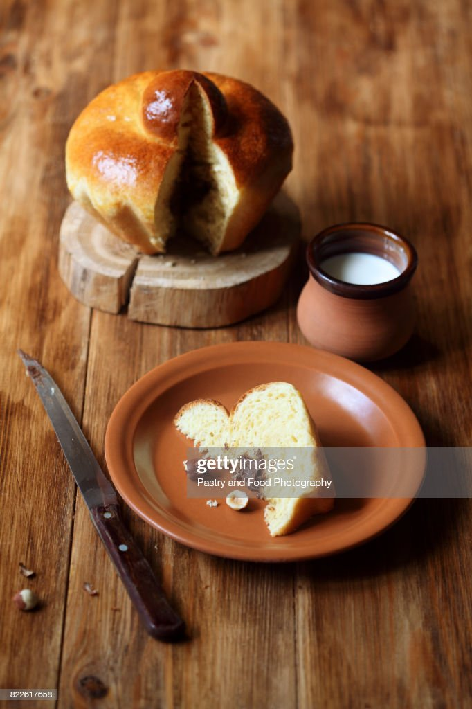 Piece of French Brioche Bun with Chocolate Filling : Stock Photo