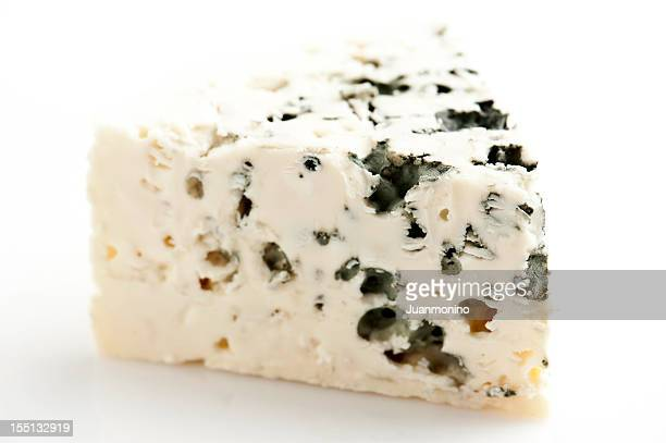 piece of french roquefort cheese - roquefort cheese stock photos and pictures