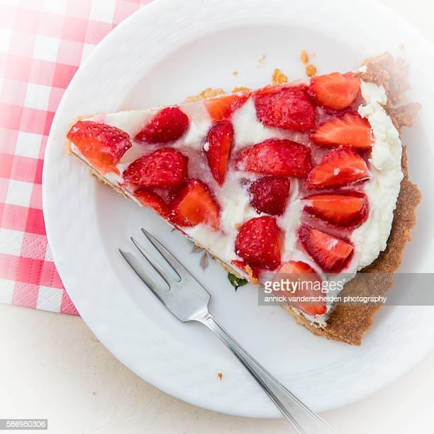 Piece of French strawberry cake.
