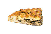 piece fresh pie with chicken mushrooms