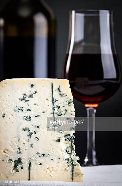 Piece of Gorgonzola and Madeira wine