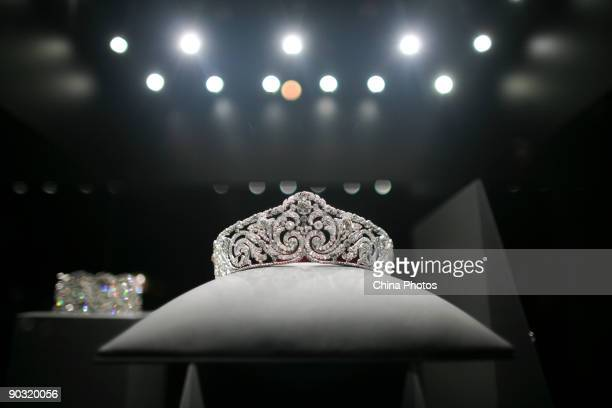 A piece of jewelry used by an European royal member is displayed at the upcoming 'Cartier Treasures King of Jewelers Jewelers to Kings' exhibition in...