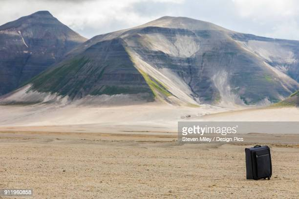 a piece of luggage sits isolated in the empty valley of ten thousand smokes in katmai national park - miley fotografías e imágenes de stock