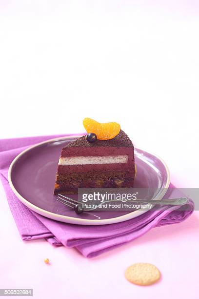 Piece of Milk Chocolate, Black Currant and Spiced Tangerine Entremet Cake
