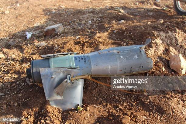 A piece of missile is seen after Assad regime's airstrikes hit the town of Khan Shaykhun in Idlib in Syria on October 11 2017 At least 5 people...