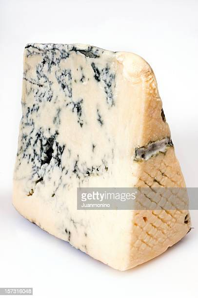 piece of mountain gorgonzola cheese - roquefort cheese stock photos and pictures