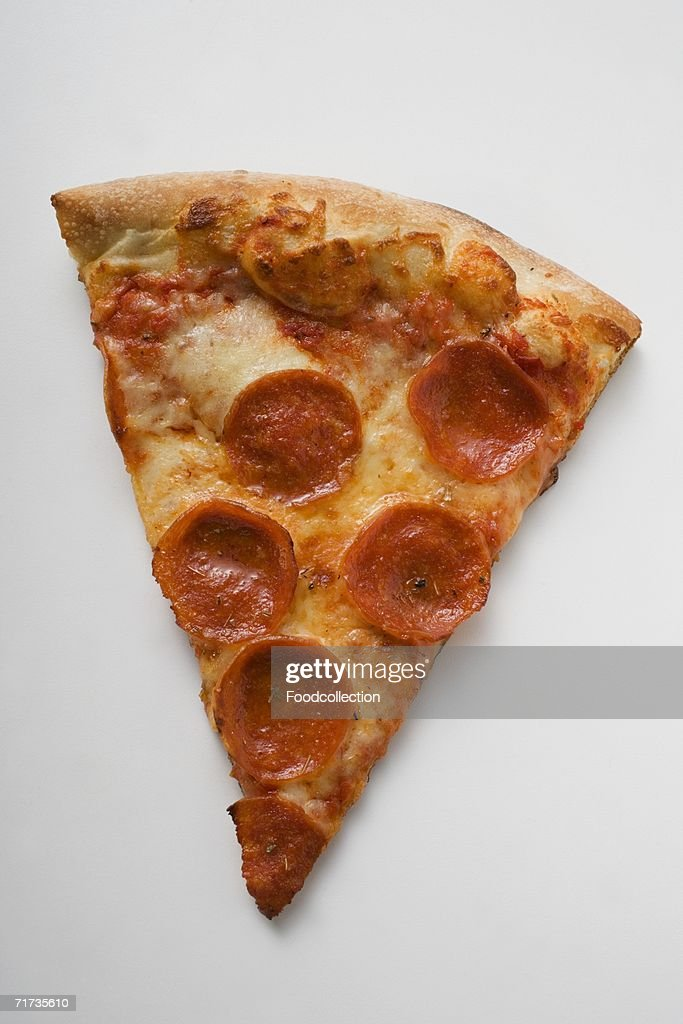 A piece of pepperoni pizza : Stock Photo