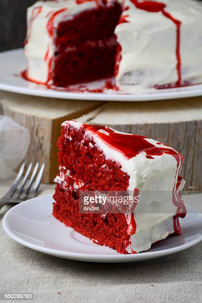 Piece of red velvet cake, close up