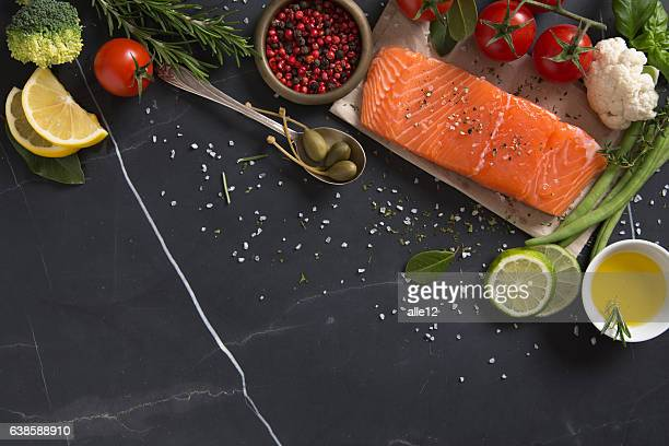 Piece of Salmon Fillet with Ingredients
