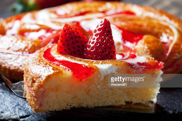 Piece of strawberry creme cake