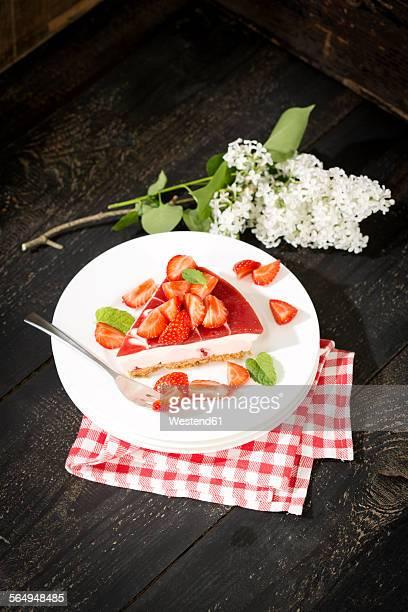 Piece of strawberry-cream cake