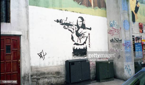Piece of street art believed to be by Banksy on a wall in Shoreditch, East London, 2000.