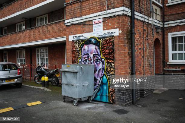 A piece of street art is pictured in the Ferdinand housing estate in Chalk Farm on February 6 2017 in London England Street artists from around the...