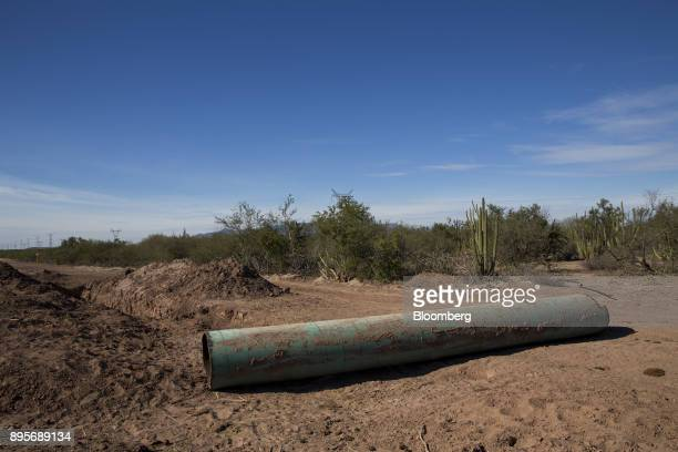 A piece of the Sempra Energy gas pipeline extracted by the Yaqui tribe sits on the ground in the village of Loma de Bacum Sonora state Mexico on...