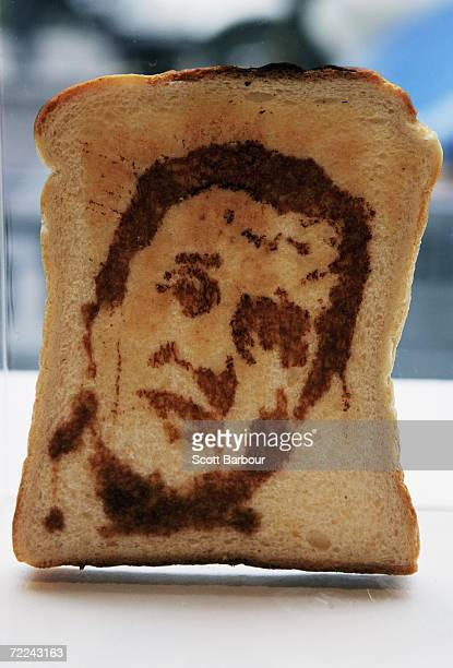 A piece of toast with a portrait of Conservative leader David Cameron sits on display during the Marmart exhibition at the Air Gallery on October 23...