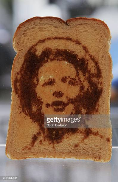A piece of toast with a portrait of former British prime minister Margaret Thatcher sits on display during the Marmart exhibition at the Air Gallery...