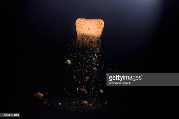Piece of toast with breadcrumbs