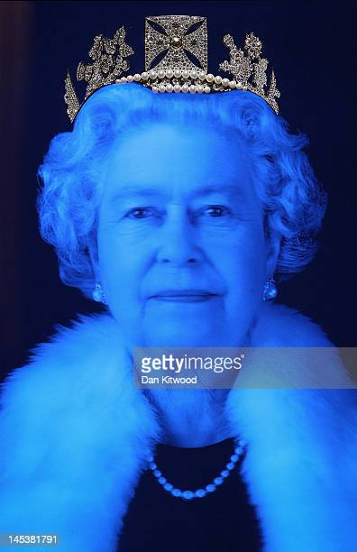 A piece of work by artist Chris Levine depicting Queen Elizabeth II is displayed during a photocall at Asprey on May 28 2012 in London England The...