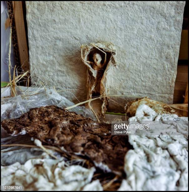 A piece of work by Polish textiles artist Tadek Beutlich at his studio in Folkestone Kent 24th June 1999