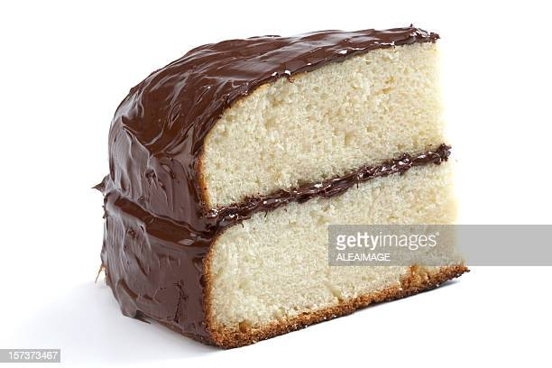 Piece of yellow cake with chocolate frosting