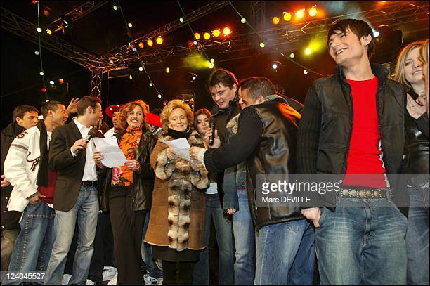 TGV pieces jaunes 2004 operation in Macon In France On January 31 2004 Anne Barrere Mrs Bernadette Chirac David Douillet Cheb Mami Michal