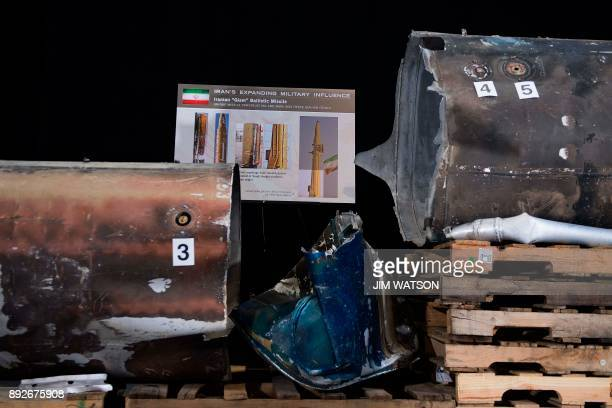 Pieces of an Iranian Qiam Ballistic Missile are on display after US Ambassador to the United Nations Nikki Haley unveiled previously classified...