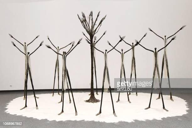 Pieces of art are exhibited in the new museum of black civilisations in Dakar on December 6 during the opening ceremony and inauguration / RESTRICTED...