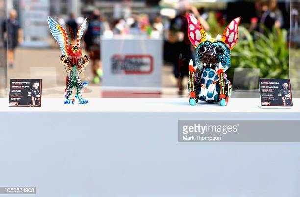 Pieces of art for the Red Bull Racing drivers is seen in the Paddock during previews ahead of the Formula One Grand Prix of Mexico at Autodromo...