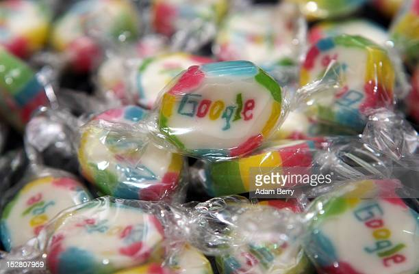 Pieces of candy featuring the Google logo are seen on September 26 2012 at the official opening party of the Google offices in Berlin Germany...
