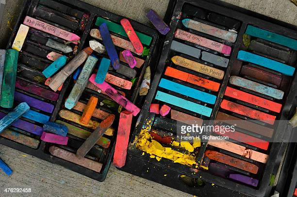 Pieces of chalk ready to be used by artists during the Denver Chalk art festival on Larimer Square in Denver Colorado on June 7 2015 The annual chalk...