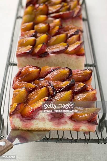 Pieces of damson cake (Zwetschgendatschi) on a rack