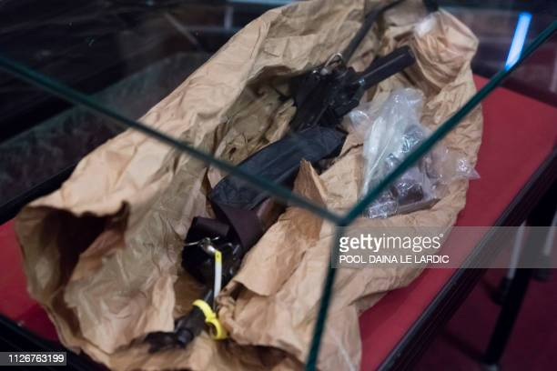Pieces of evidence pictured during a session of the trial for the terrorist attack at the Jewish Museum in Brussels at the Brussels Justice Palace in...