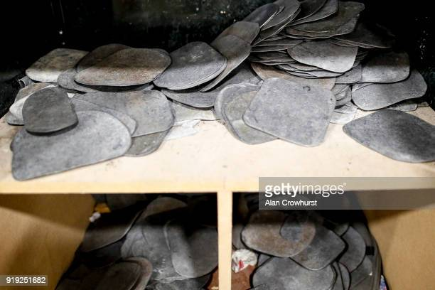 Pieces of lead in a cupboard in the changing room at Ascot Racecourse on February 17 2018 in Ascot England