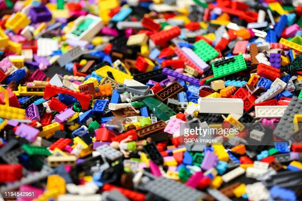 Pieces of lego displayed during the exhibition at Alexandra Palace in north London. At the London Model Engineering Exhibition, over 50 clubs and...