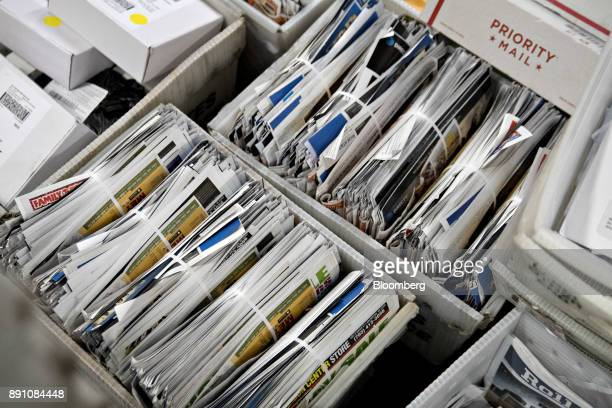 Pieces of mail sit in crates at the United States Postal Service Joseph Curseen Jr and Thomas Morris Jr processing and distribution center in...