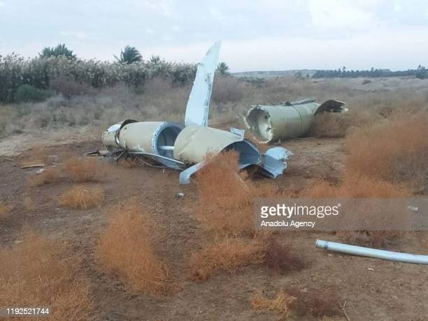 Pieces of missiles are seen at the rural area of Al-Baghdadi town after Iran's Islamic Revolutionary Guard Corps targeted Ain al-Asad airbase in...