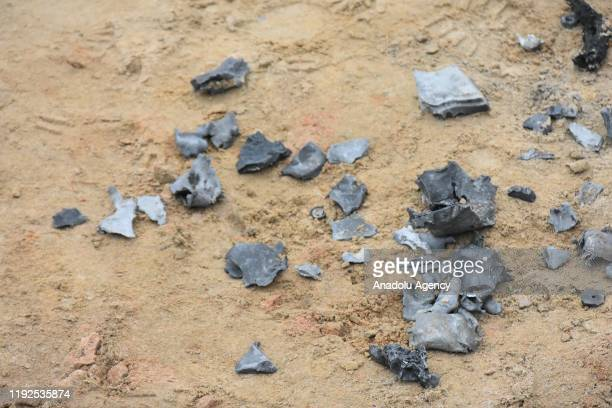 Pieces of missiles are seen at the site after Iran's Islamic Revolutionary Guard Corps targeted Ain alAsad airbase in Iraq a facility jointly...