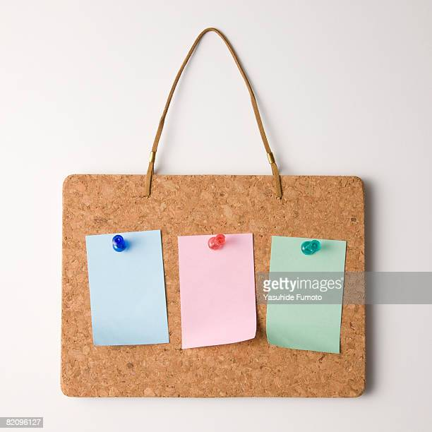Pieces of paper are sticked with pins on a cork board.