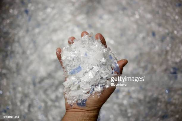 Pieces of polyester are displayed for a photograph before being recycled into silver nitrate at the Rochester Silver Works LLC facility in Rochester...