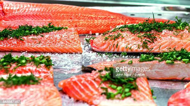 Pieces Of Raw Salmon With Dill