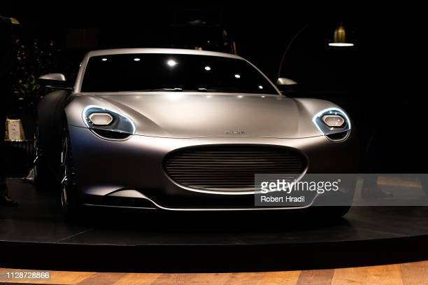 Piech Mark Zero electric sports car is displayed during the first press day at the 89th Geneva International Motor Show on March 5, 2019 in Geneva,...
