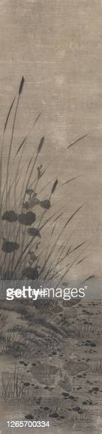 Pied Wagtail on a Lotus Leaf, Attributed to Yamaguchi Sekkei , Edo, 1644-1732, ink on paper, 46 x 11-1/2 in., Relief ding seal in bottom left corner:...