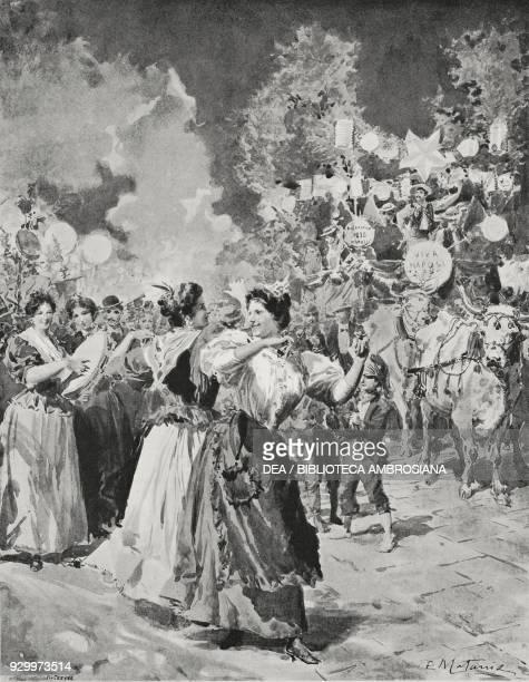 Piedigrotta festival in Naples Campania Italy drawing by Edoardo Matania from L'Illustrazione Italiana Year XXV No 39 September 25 1898