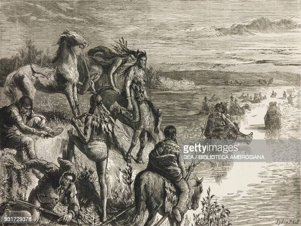 Piegan Blackfeet crossing a river in the great North West with the Marquis of Lorne Canada drawing by Sydney Prior Hall illustration from the...