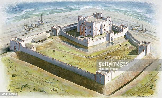 Piel Castle 14th century Aerial view reconstruction drawing of the castle in the early 14th century BarrowinFurness Cumbria Piel Castle also known as...