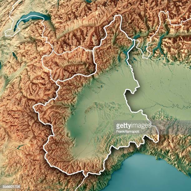 Piemonte State Italy 3D Render Topographic Map Border