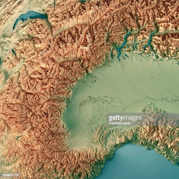 Piemonte State Italy 3D Render Topographic Map