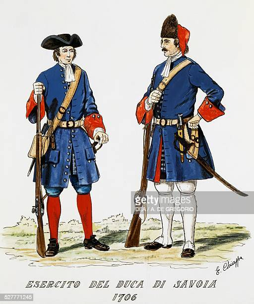 Piemontese infantry uniforms: Rifleman and Grenadier from the Guards Regiment coloured engraving by Chiappa. Italy, 18th century. Turin, Museo Pietro...