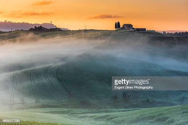 pienza at morning - san quirico d'orcia stock pictures, royalty-free photos & images